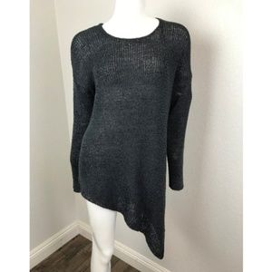 AMISU Medium Black Knit Sweater Asymmetrical Hem